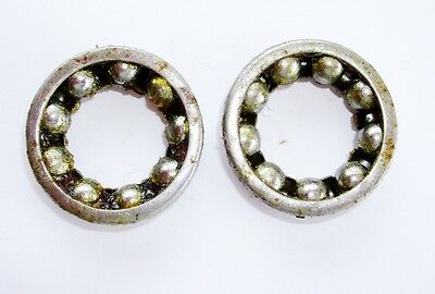 (PAIR) Bottom Bracket 1/4  (Inch) X 9 Ball Cage Bearings STD, Square Taper Axle • 3.49£