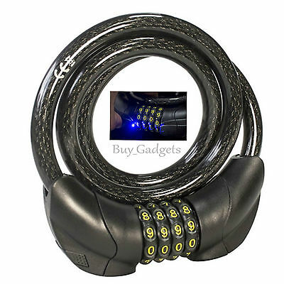 Led Combination Bike Cable Lock Bicycle Heavy Duty Thick Cycle Bike Security • 7.95£