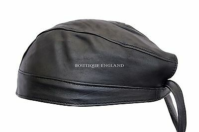 Motorbike Wholesale Leather BANDANA Black Biker Real Leather Zandana Pre-Tied • 247.05£