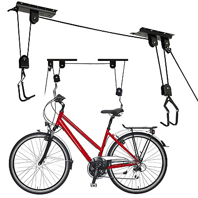 New 20KG Bicycle Bike Ceiling Hanger Lift Pulley Hoist Garage Rack Storage Stand • 10.99£
