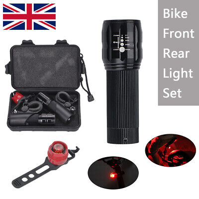 2xCREE Q5 LED Bike Bicycle Cycle Zoomable Torch Front Lights+Bicycle Rear Lamp • 9.19£