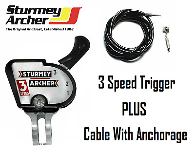 Sturmey Archer 3 Speed Gear Lever / Shifter & Cable Genuine Sturmey Archer Parts • 14.99£