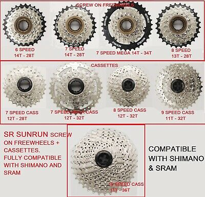 Sr  Bike Gear Freewheels & Cassette Cogs, 6,  7 / 7mega / 8 / 9 /10 Speed,  • 16.95£