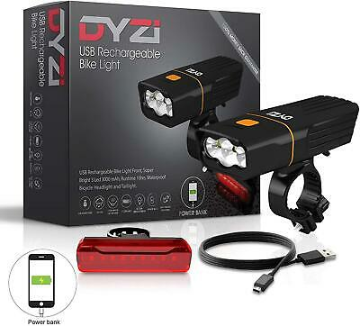 Dyzi Fully Rechargeable Bicycle / Super Bright Bike Lights Set Light Waterproof  • 19.97£