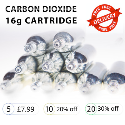 CO2 Threaded Cartridges, Silver, 16g, Packs Of 5 • 7.99£