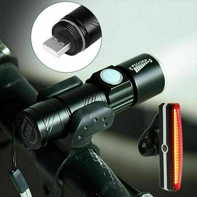 LED USB Rechargeable Mountain Bike Road Cycle Head Front + Rear Tail Light+Mount • 12.99£