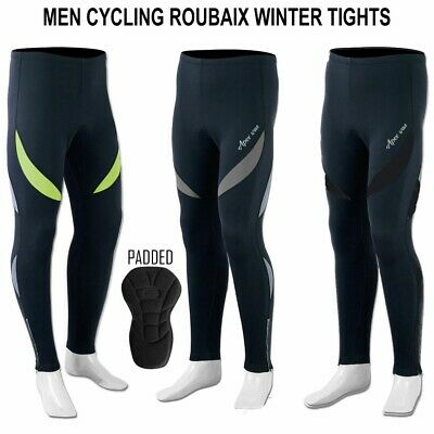 Mens Cycling Tights Winter Thermal Padded Pants Cycle Long Trouser • 19.95£