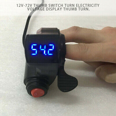 12V-72V LED Bike Thumb Throttle With Power Switch Voltage For Electric E-bike • 10.49£