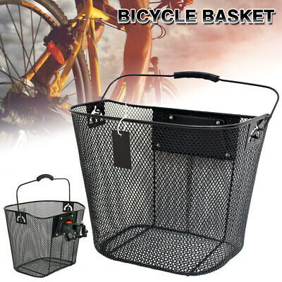 Bicycle Front Handlebar Mesh Basket W/Carry Handle Cycle Bike Shopping Holder • 19.99£