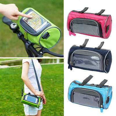 Mountain Bike Touch Screen Front Handlebar Bag Phone Holder Pouch Pannier NEW • 8.29£