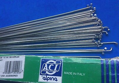 Nos 36 Aci Alpina Stainless Double Butted Spokes,with Nipples,268mm,14/16 Gauge • 11.99£