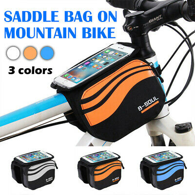 Cycling Mountain Bike Bicycle Frame Front Top Tube Bag Phone Holder Case Pouch • 7.49£