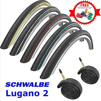 Schwalbe Lugano 2 700c Bike Tyres & Tubes Road Cycle Tire Active Line K-Guard • 19.99£