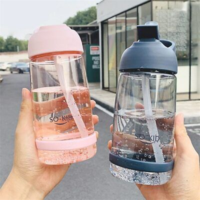 Water Bottle With Straw Plastic BPA Free Leakproof Sports Portable Drinks Mugs • 7.99£