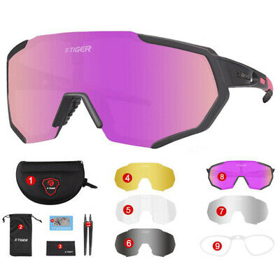 UV400 Sports Sunglasses + 5 Lens TR90 Polarized Cycling Glasses Bike MTB Goggles • 16.67£