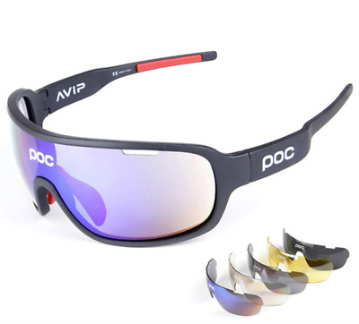POC Cycling Biker Glasses Sunglasses UV400 Polarized Glasses W/ 5pc Replace Lens • 15.49£