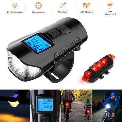Speedometer Bike Head Light USB Rechargeable Bicycle LED Front Rear Fog Lamp Set • 7.99£