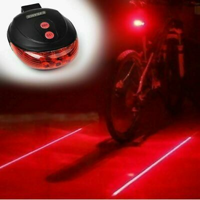 RED 5LED Bicycle Rear Bike Laser Tail Beam Cycling Warning Lamp Light+Battery UK • 4.99£