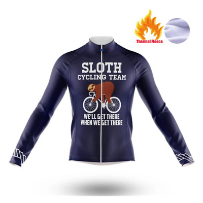 Winter Thermal Fleece Sloth Cycling Jersey Team Long Sleeve Racing Shirt • 16.98£