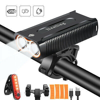USB Rechargeable Bike Light Set 2400 Lumens Bicycle Lights Bike Headlight Front • 18.99£