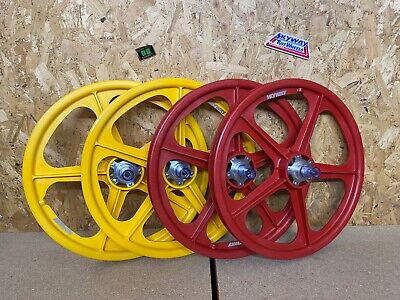 SKYWAY Tuff 2 WHEEL Alloy Flange 20  X 1.75 OLD SCHOOL BMX RED YELLOW  • 299.99£