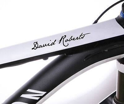 2x Personalised Bike Name Stickers Frame Cycle Cycling Decals • 3.79£