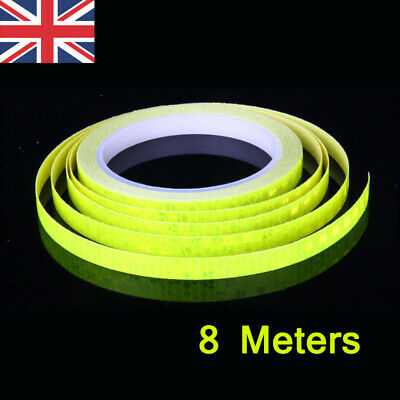 Yellow Reflective Stickers Hi Vis Viz Safety Car Bicycle Bike DIY Reflector Tape • 2.35£