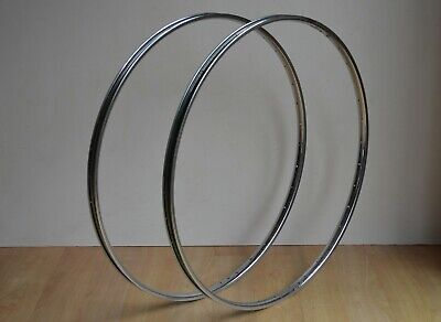 Vintage 1980 Rigida Chromage Superchromix Steel Rims 36 Hole 27  X 1 1/4  Pair • 34.95£