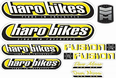 Bmx Bike Bicycle Stickers Decals Transfers - Set Of 9 - Haro Fusion - Yellow • 5.50£