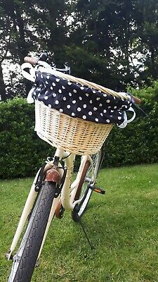 Front Handlebar Wicker Bike Basket With Liner / 7 Styles Of Liners Available  • 23.99£