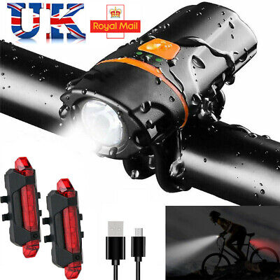 Bright 1200 Lumen USB Rechargeable Bike Bicycle Headlight Front Back Lights Set • 11.99£