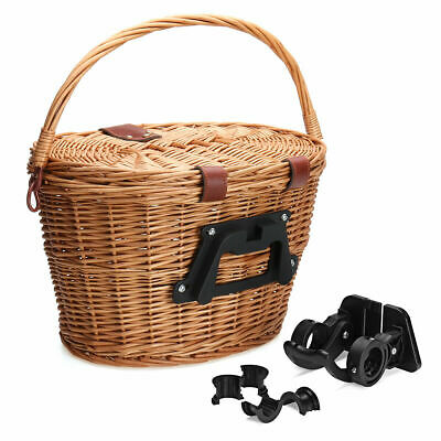 Wicker Bicycle Bike Front Picnic Basket With Lid & Carry Handle Shopping • 20.99£