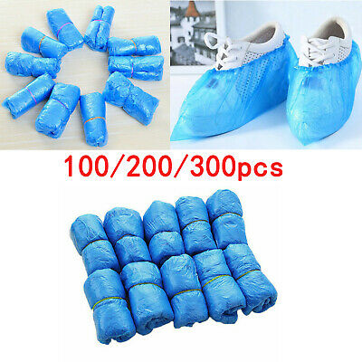 100/300 Disposable Shoe Cover Blue Anti Slip Plastic Cleaning Overshoes Boot UK • 11.99£