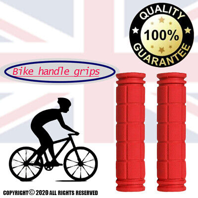Soft BMX MTB Mountain Bike Bicycle Cycling Bar Handle Grip Universal Rubber Red • 2.99£
