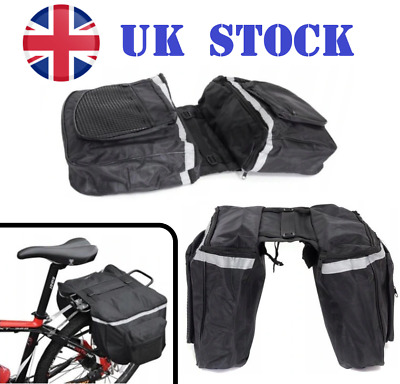 Double Panniers Bag Bike Bicycle Cycling Rear Seat Trunk Rack Pack UK STOCK • 14.99£