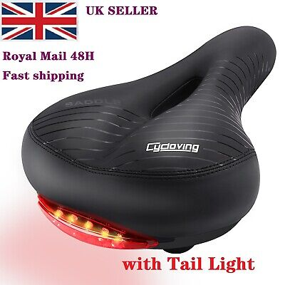 Extra Wide Bike Saddles With Tail Light Bicycle Comfy Cushioned Soft Seat Pad • 15.95£