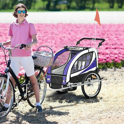 HOMCOM 2-in-1 Bicycle Child Trailer 2-Seater Baby Stroller Jogger Kit Purple • 151.99£
