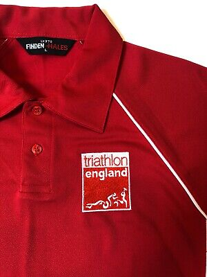 Triathlon England Polo Shirt In Red - Size Large • 8.99£