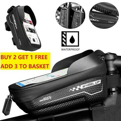 Waterproof MTB Mountain Bike Frame Front Cycling Bag Bicycle Mobile Phone Holder • 13.29£