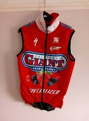 Specialized Giant Berry Farms Team Cycling Gilet Red Black Size Small • 9£