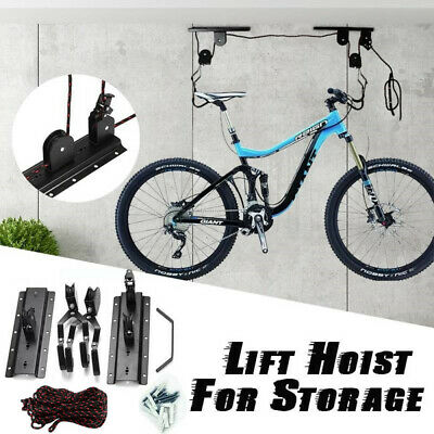 Strong Bike Bicycle Ceiling Hanger Lift Pulley Hoist Storage Stand Garage Rack • 9.98£
