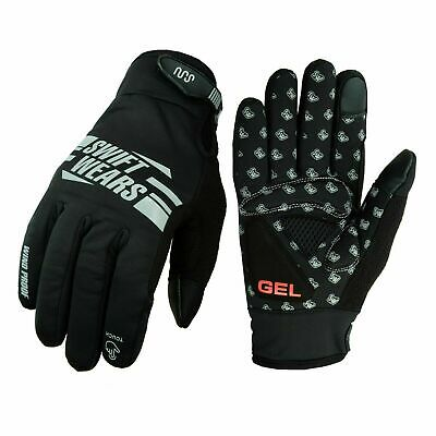 Cycling Gloves Windproof Gel Padded Touchscreen Full Finger Winter Gloves Lined • 6.99£