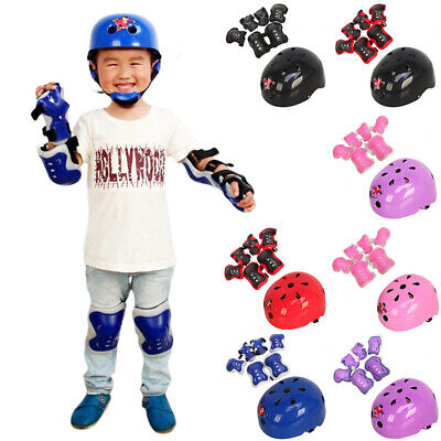 7pcs Kids Bicycle Roller Skating Helmet + Elbow Knee And Wrist Pads Safety • 13.99£