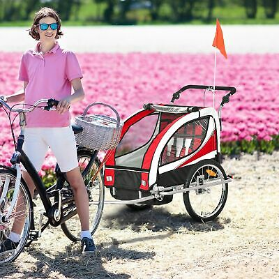 HOMCOM 2 In 1 Kids Bicycle Trailer Baby Child Stroller Jogger For 2 Kids Red • 109.99£