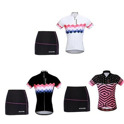 Women Cycling Set Suits Short Sleeve Jersey & Shorts Skirts 4D Padded Skirts • 26.17£