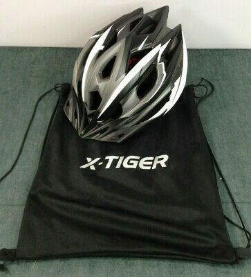 X-Tiger Black White & Grey Cycling Protective Helmet Size 58-61cm Weight 270G  • 5£