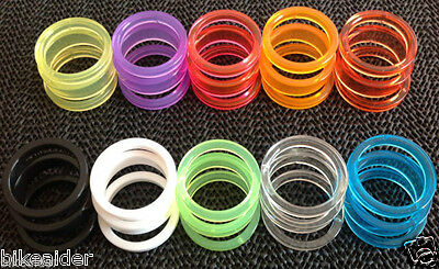 SET 3 FUNKY NYLON HEADSET / STEM / STEERER SPACERS 28.6mm / 1  1/8th 10xCOLOURS • 4.49£