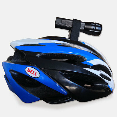 Bicycle Bike Helmet Torch Mount Cycle Light Flashlight Holder Strap Clamp • 4.95£