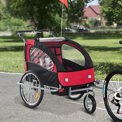HOMCOM 2 In 1 Multifunctional Bicycle Child Carrier Baby Trailer Stroller Jogger • 106.99£
