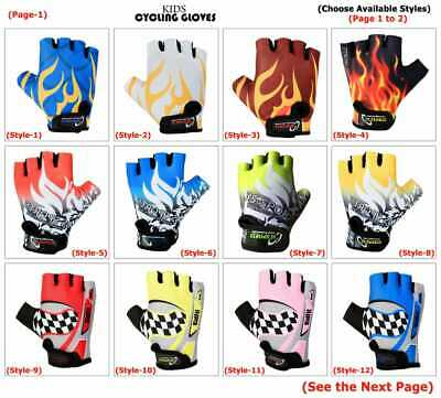 Children Kids Boys Girls Padded Cycling Scooter Bmx Bike Gloves Cycle Bicycle   • 5.99£